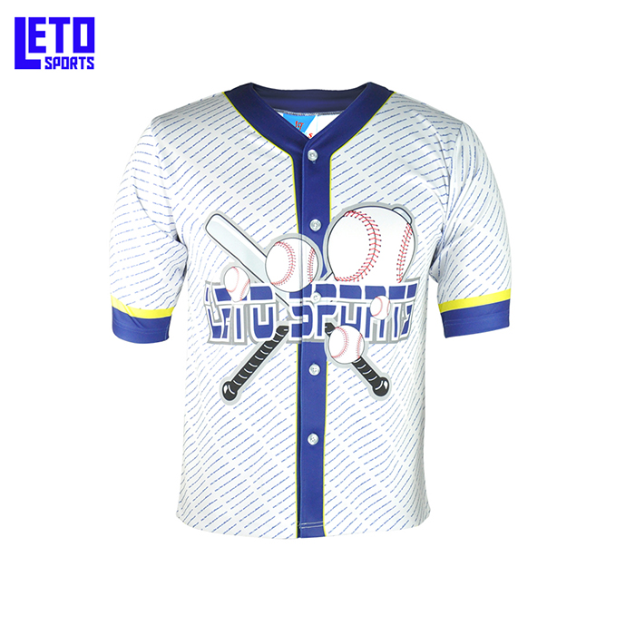 Wholesale Men's Custom Printing Full Button Baseball Shirts