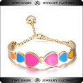 Daihe Stainless steel enamel open bracelets bangles with charm