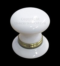 2 Piece Ceramic Cupboard Knob & Backplate With Brass Collar