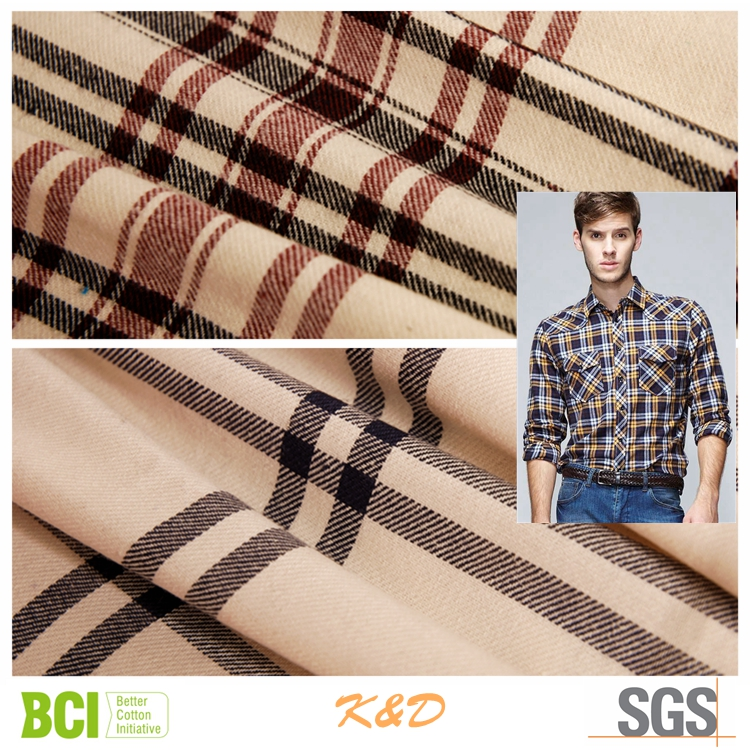 polyester cotton twill brushed flannel shirting fabrics garments
