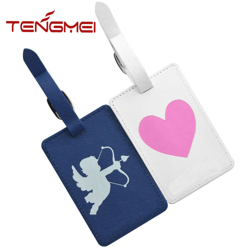 Valentine's Day gift PU leather ID luggage tag business name tag holder