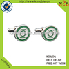top Quality custom Enamel green round cufflink for mens shirts