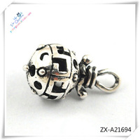 round shape antique silver zinc alloy hollow balls for DIY ball beads pendant .silicone beads, ZX-A21694