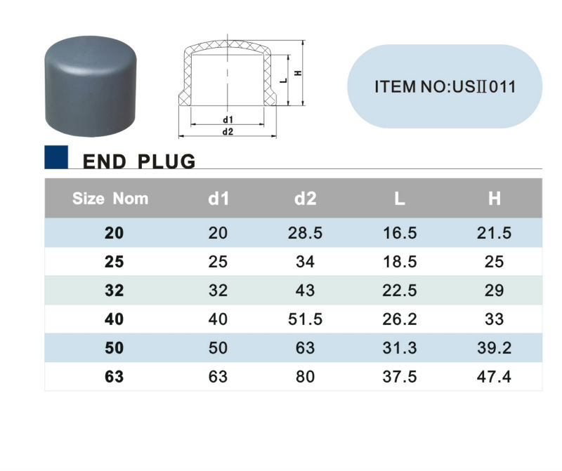 ERA PVC Pressure Fittings End Caps for PVC Pipes DIN standard