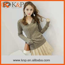 Fashion Women Young Long Sleeve Brown V-Neck Pullover Sweater Style For Ladies