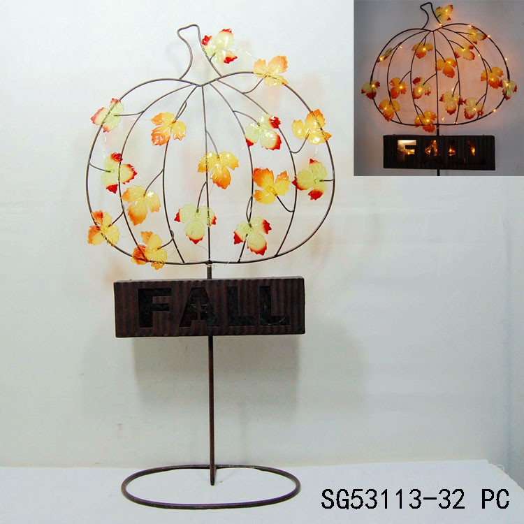 outdoor metal wire pumpkin decoration with led light