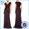 wholesale factory OEM latest design cap sleeve wine red heavy evening sequins beaded dresses