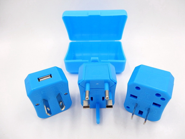 universal travel adapter with USB charger 1000mA CE LVD ROHS compliant guangzhou factory