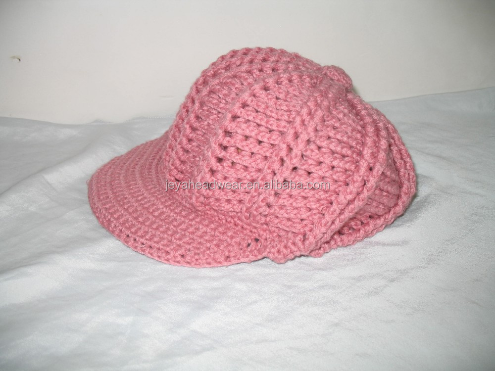 Pink Acrylic Knitted Military Hats Blank Baseball Cap Winter Wholesale style