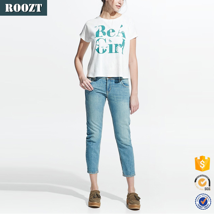 China hot sale message linen-blend white casual fashion t-shirt for women