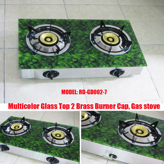 (RD-GD002-7) two burner Glass Gas Cooker 90mm burner brass cap set glass top gas stove
