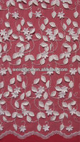"Allover Leaves Flower Applique 3D Lace Fabric 53"" For Bridal Wedding Dress Mesh Embroidered"