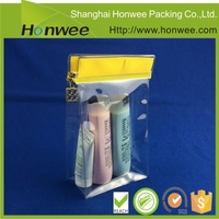PVC clear cosmetic bag/ plastic bag for cosmetic with customized zipper