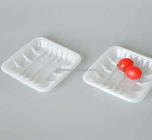 Transparent disposable blister plastic tray for clear frozen food