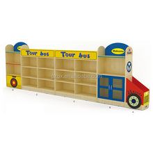 Wooden Bus children toy cabinet kids toy cabinet QX-B7502