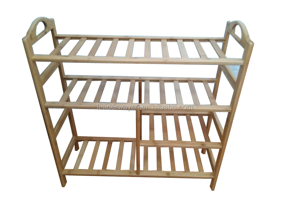 2015 hot sale 4-tier cheap bamboo boots shoe rack