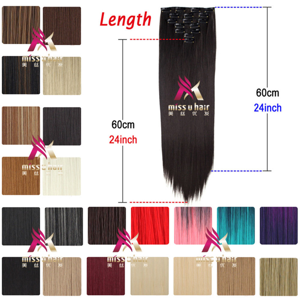 "Miss <strong>U</strong> Hair Wholesale Price Excellent <strong>24</strong>"" 130g 7pcs/set Long straight Synthetic Hair Extensions Clip In Hairpieces W002"