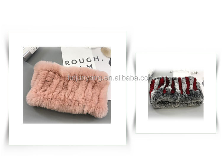 Multifunction knitted  fur neck warmer ladies rabbit fur scarf fur headband