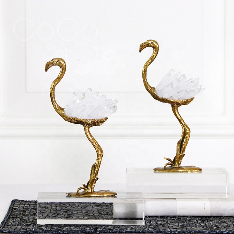Cocostyles luxury limited edition ostrich shaped <strong>natural</strong> crystal pendulum for royal style home decoration