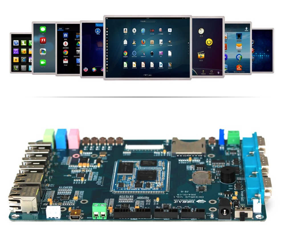 ARM Single Board Computer 2 LAN Ports Development Kit AM335x With Support 7'' Resistive Touch Screen
