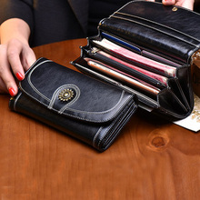 2017 Best selling classical fashion women wallet genuine leather wallet purse for ladies