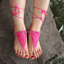 100% cotton crochet wedding sandals/beach anklets /crochet barefoot sandals/ankle bracelets/shoes ornament, UKAB010