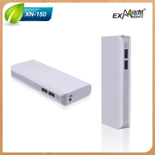 Business travel model power banks 12000mah with LED Light connector with dual usb cables