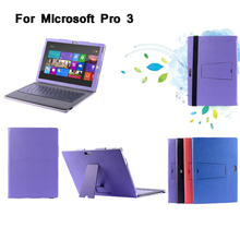 Folio Stand PU Leather Case Cover with Keyboard Holder For Microsoft Surface PRO 3 12""