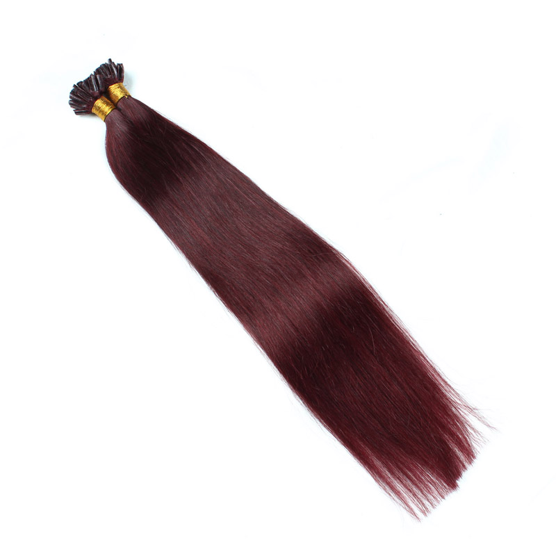 1g strands 99j color prebonded keratin human hair soft and smooth u tip extensions