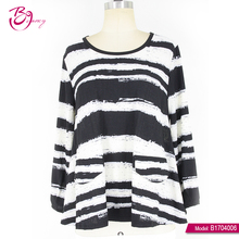 Black And White Long Sleeve Fashion Lady Ready Made Garments