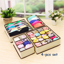 Non-woven Fabric Foldable Closet Organizer Underwear Socks Ties Storage Box 4-pcs Set