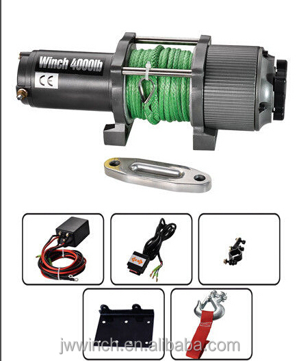 JW electric winch for ATV/BOAT --4000LBS with synthetic rope