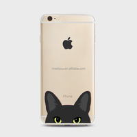 Mobile cases cute black kitty cat head Soft TPU cell phone case custom phone cases For iPhone 5 5S