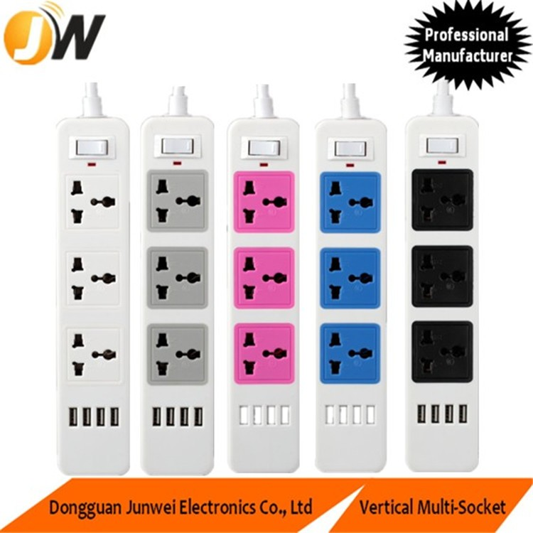 World Travel Adapter 5 outlet power strip with 2m extension cord for commercial and household