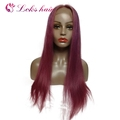 purple colored brazilian hair human wigs wholesale china , straight lace front wig with baby hair, women hair wig