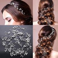 Handmade Pearl Crystal chain hair accessories for bride,wedding headwear