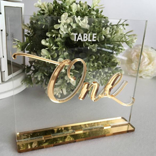 Freestanding table sighs gold mirror clear acrylic place card standing weeding table number
