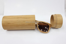 Round Bamboo wooden sunglasses case box
