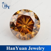 Beautiful hot sale diamond cut round champagne synthetic moissanite