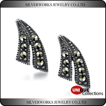 Retro 925 Sterling Silver Leave Shapen Zircon Stud Earrings