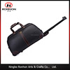 Practical trolley handle and wheel PU leather travel bag, hand bag