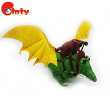 Green baby custom made dinosaur plush toys with yellow wing