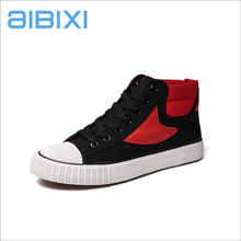 AIBIXI Wholesale Custom Made Dubai Footwear Black High-Cut Joint Red Canvas Shoes