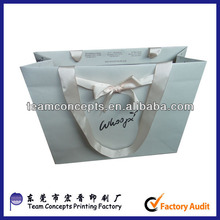 customized ribbon handle cosmetic paper bag