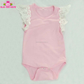 Newborn Clothes Baby Sleeveless Bodysuits Lace Flutter Design Cotton Soft Pink Bodysuit With Snaps