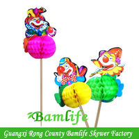 decoration honeycomb clown party wood food picks