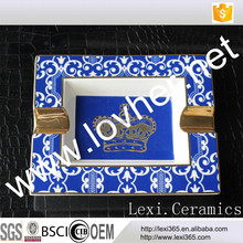Porcelain ashtray crown new bone china porcelain blue gold for gift decoration houseware hotel