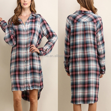 Latest Modern Women Clothes Classic Pretty Summer Casual Super Soft Pink Plaid Shirt Official Dresses For Women