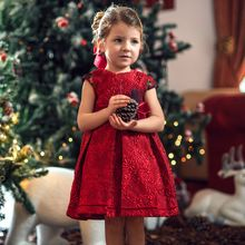 New Design Girls Red Jacquard Dress Girls Big Bowknot Red Party Dress
