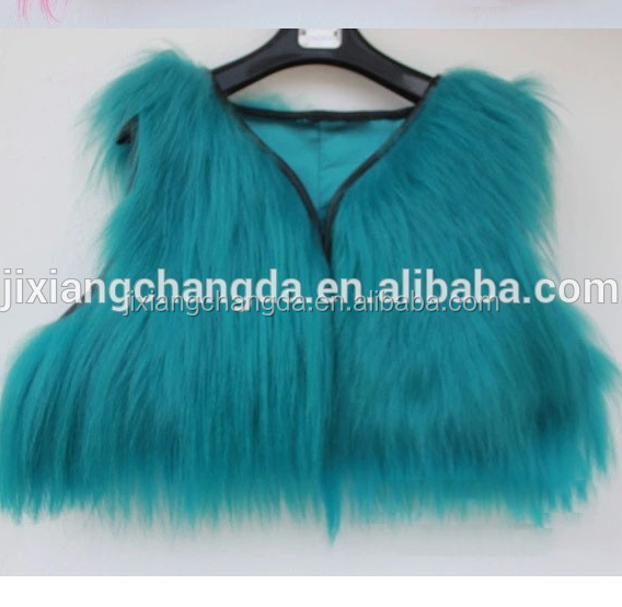 fashion wholesale mini long hair goat fur vest gilet for women